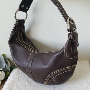 Coach hobo crescent brown leather bag